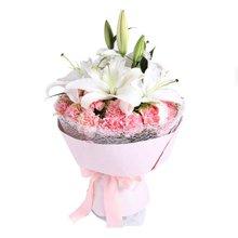 爱的祝福----2枝多头白香水百合,19枝粉康乃馨