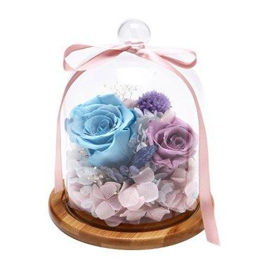 戀心-藍色永生玫瑰+紫色永生玫瑰創意永生花玫瑰花禮盒包裝長輩愛人女友好友禮物春節新年元宵節情人節女朋友創意禮物生日禮物