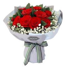 致美丽的你----红玫瑰11枝,满天星围绕,栀子叶0.5扎