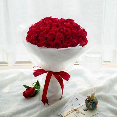 【與你常在】33枝紅玫瑰鮮花花束禮物同城訂花送花愛人老婆生日紀念日情人節創意禮物送女朋友送禮拜訪生日禮物女神節女生節38婦女節