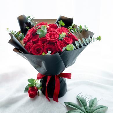 心動瞬間-19枝紅玫瑰搭配尤加利鮮花花束女友愛人生日紀念日禮物鮮花同城速遞