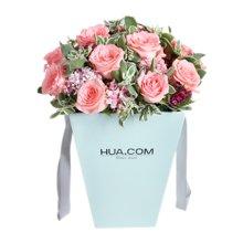 温柔如你----戴安娜粉玫瑰12枝,石竹梅7枝