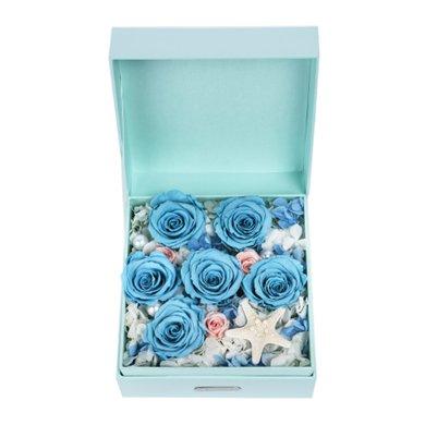 深海秘境-進口永生藍玫瑰6枝,淺粉桃色玫瑰3枝元旦/圣誕節包裝禮盒生日禮物女朋友老婆表白生日禮物驚喜