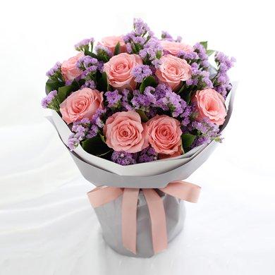 你的香气-戴安娜粉玫瑰9枝鲜花情人节送老婆爱人女朋友创意礼物生日礼物女神节女生节38妇女节
