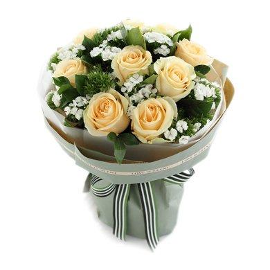 香妃-香檳玫瑰9枝鮮花春節新年元宵節情人節送老婆愛人女朋友創意生日禮物