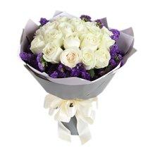 如初----19枝白玫瑰,紫色勿忘我圍繞