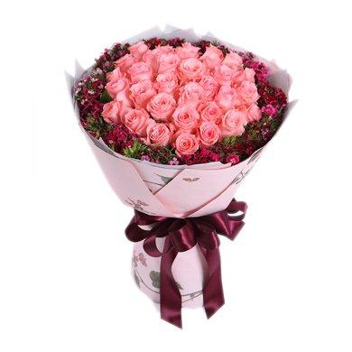 眷念-戴安娜粉玫瑰33枝,石竹梅围绕鲜花春节新年元宵节情人节女朋友创意礼物生日礼物