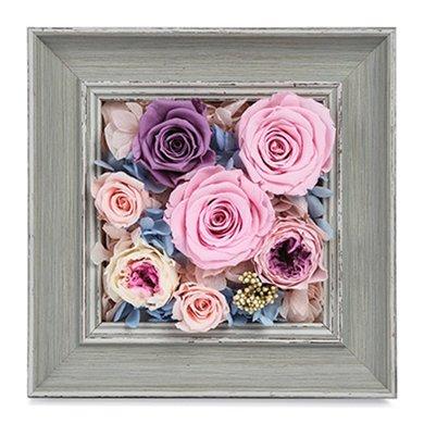 时光的花-进口粉色玫瑰,进口紫色玫瑰包装礼盒创意永生花家居相框摆件办公室情人节送老婆爱人女朋友创意生日礼物女神节女生节38妇女节