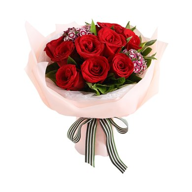 真愛-紅玫瑰9枝,石竹梅,梔子葉鮮花情人節創意禮物送女朋友新年春節送禮拜訪生日禮物