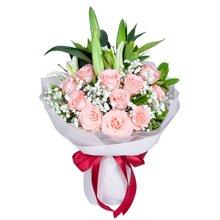 为爱相随----多头百合1枝,戴安娜粉玫瑰11枝