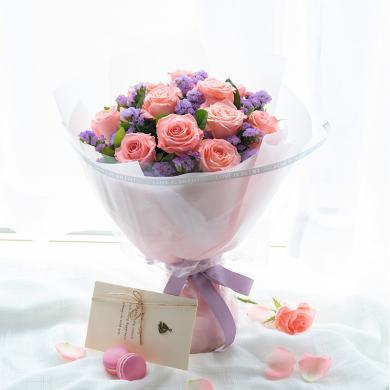 【甜蜜約定】11枝粉玫瑰閨蜜好友愛人紀念日禮物花束鮮花速遞同城情人節創意禮物送女朋友送禮拜訪生日禮物女神節女生節38婦女節