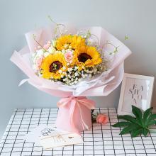 【風一樣的女子】向日葵3枝搭配戴安娜粉玫瑰滿天星鮮花花束禮物送女友愛人閨蜜好友