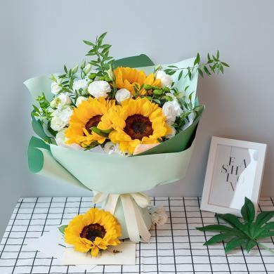 【新品】一縷清香-向日葵3枝鮮花花束禮物創意禮物送女朋友情人節送禮拜訪生日禮物女神節女生節38婦女節