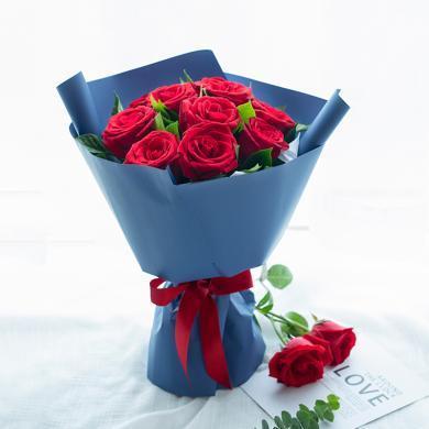 【愛情物語】紅玫瑰9枝搭配梔子葉適量鮮花花束禮物圣誕節、元旦新年禮物