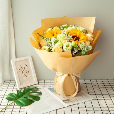 【你若安好】向日葵2枝,香檳玫瑰9枝搭配葉上花鮮花花束愛人閨蜜紀念日情人節創意禮物送女朋友新年春節送禮拜訪生日禮物