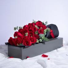 【烈焰如歌】紅玫瑰19枝搭配尤加利精品鮮花禮盒女友愛人生日紀念日禮物鮮花速遞同城