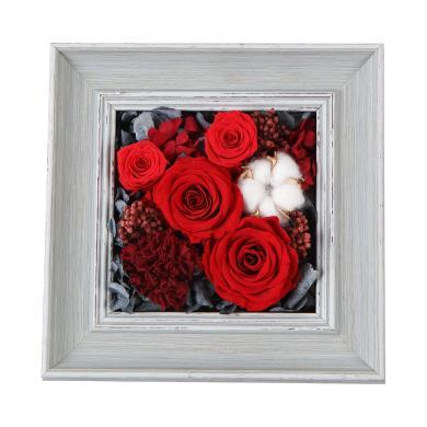 溫情守候--創意永生花玫瑰花禮盒相框禮品家居擺件