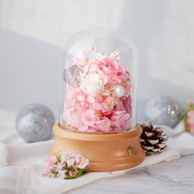 永生花帶燈+藍牙音箱/浪漫粉---永生花玫瑰禮盒女神節送愛人創意