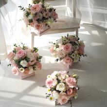 小栗馬馬原創手作鮮花 玫瑰花園 浪漫粉色玫瑰 國產花束花盒 【方形花盒】 新鮮玫瑰 生日求婚情人節禮品