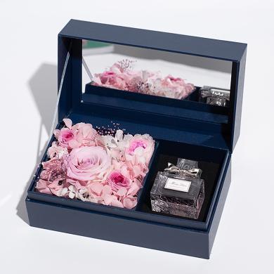 花漾年華永生粉玫瑰花迪奧小姐女性女士迪奧3香水0ml圣誕節、元旦新年禮物包裝禮盒禮物