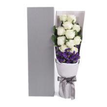 真愛如初----雪山玫瑰11枝、深紫色勿忘我0.3扎