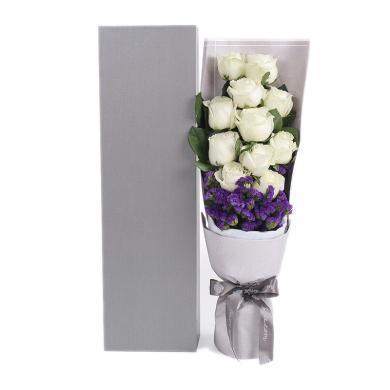 真愛如初----雪山玫瑰11枝、深紫色勿忘我0.3扎情人節送老婆愛人女朋友創意禮物生日禮物女神節女生節38婦女節