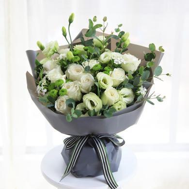 月光女神-白玫瑰,绿色桔梗,小菊,白色石竹梅鲜花春节新年元宵节情人节送老婆爱人女朋友创意生日礼物