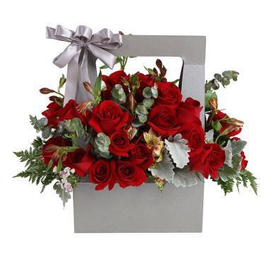 想愛你-紅玫瑰19枝、橙黃色水仙百合8枝鮮花春節新年元宵節情人節送老婆愛人女朋友創意禮物生日禮物