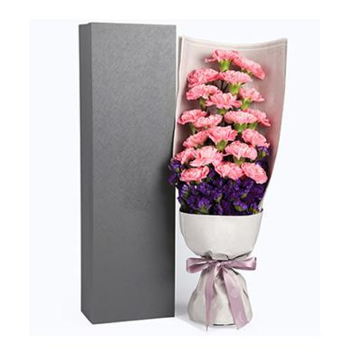 天使之祈----精品康乃馨禮盒,粉色康乃馨19枝,勿忘我適量