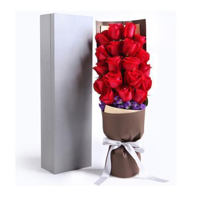 一往情深-精品玫瑰禮盒:19枝紅玫瑰,勿忘我適量情人節送老婆愛人女朋友創意禮物生日禮物女神節女生節38婦女節