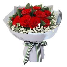 致美麗的你----紅玫瑰11枝,滿天星圍繞,梔子葉0.5扎