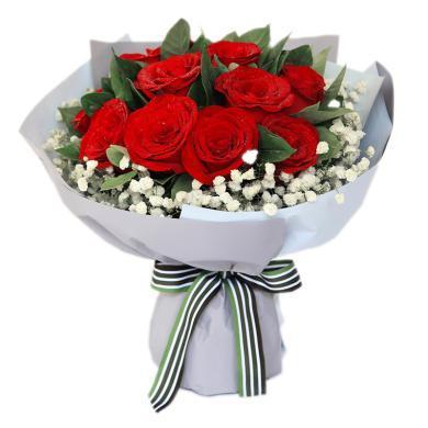 致美麗的你-紅玫瑰11枝,滿天星圍繞,梔子葉0.5扎春節新年元宵節情人節送老婆愛人女朋友創意禮物生日禮物
