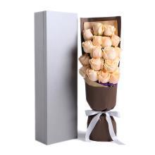 你最珍貴----精品玫瑰禮盒:香檳玫瑰19枝,勿忘我適量