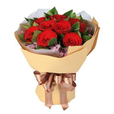 一心一意-玫瑰11枝,粉色勿忘我0.3扎鮮花情人節女朋友生日禮物創意禮物女神節女生節38婦女節
