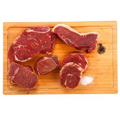 厚原切進口家庭牛排套餐團購 新鮮非腌制1.6千克牛排套餐(西冷、肉眼、上腦、嫩肩各2份)