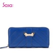 Sasa/萨萨 女士钱包头层牛皮时尚盖头红色长款女包 蓝色SA25-W0419N