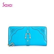 Sasa/萨萨 女士钱包镂空工艺牛皮长款拉链手拿包女包 SA45-W0473