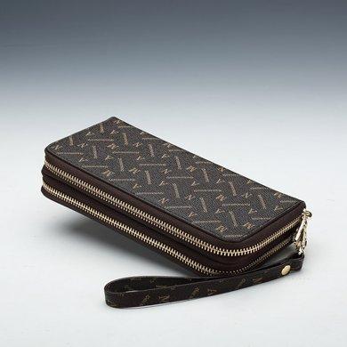 Aman女士錢包大容量新款女式錢包長款雙拉鏈真大鈔夾皮手拿包 80018