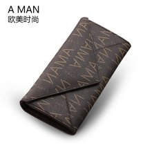 Aman新款女士钱包长款两折信封手拿皮夹钱夹多卡位欧美时尚潮 80041
