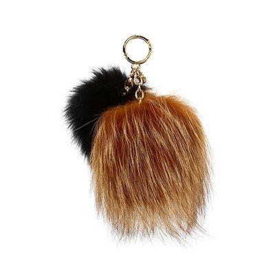 [支持購物卡]MK/邁克高仕 mk女 棕黑色 金屬鑰匙鏈 背包掛鏈 雙毛球掛件
