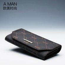 A man 新款女士錢包長款兩折信封手拿皮夾錢夾多卡位歐美時尚潮 8065