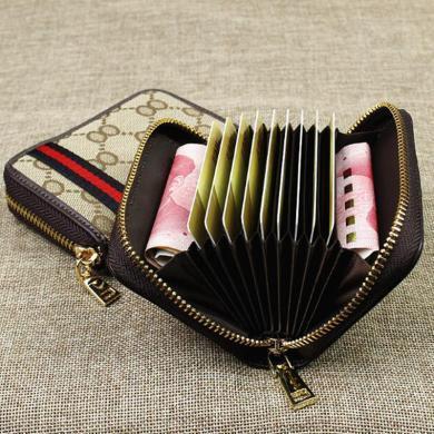 JX經典多卡位拉鏈風琴零錢包皮織帶布藝小卡包邊織帶 AP54-2