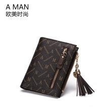AMAN欧美时尚女士短款钱包2018新款潮流苏小钱夹零钱包多卡位皮夹 80061