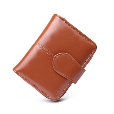 紐芝蘭 新款短款錢包復古女士錢夾油蠟皮零錢包卡包 201615