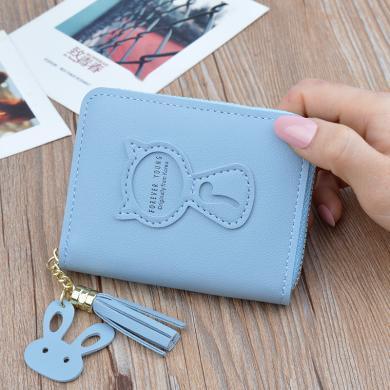 搭歌新款2019小錢包女士短款拉鏈錢夾韓版可愛貓咪迷你鑰匙零錢包TY-2059