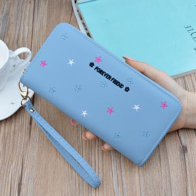 搭歌2019新款女士手拿钱包长款软皮夹绣花星星韩版大容量手机包TX001-33