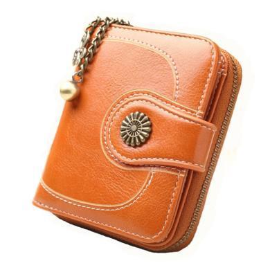 纽芝兰 复古短款女士钱包吉祥花装饰钱夹卡包零钱包 221828