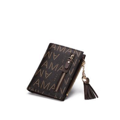 AMAN歐美時尚女士短款錢包新款潮流蘇小錢夾零錢包多卡位皮夾 80061