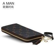 A man钱包女新款 长款拉链手拿多卡位大钞夹大容量 女士钱包 8063