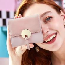 ANMLY/安魅力錢包女短款零錢包軟皮薄款搭扣百搭迷你三折簡約手拿皮夾女A8048